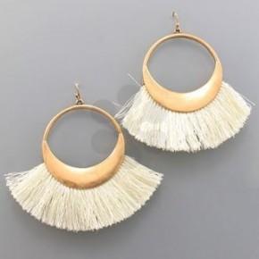 Ivory Fan Tassel Circle Earrings