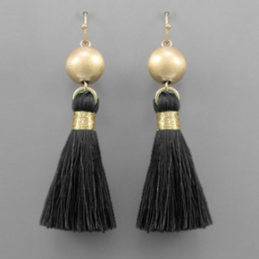 Satin Ball & Tassel Earrings- Black