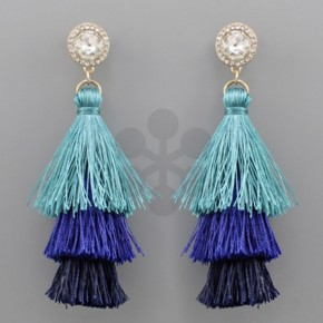 Diamond Tiered Teal Tassel Earrings