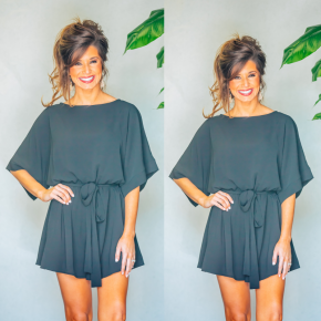 Get To Know You Romper - Black