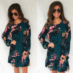 Teal Floral Mix Dress