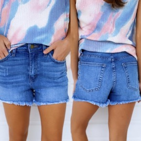 Daisy Denim Shorts- Light Denim