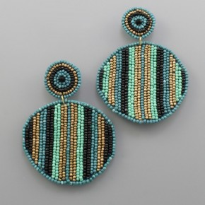 Teal Striped Circle Earrings