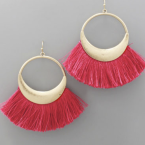 Fan Tassel Circle Earrings-Fuchsia