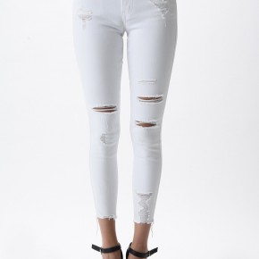 Farrah White Distressed Skinnies