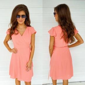 Caroline Coral Wrap Front Dress
