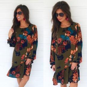 Olive Floral Mix Dress