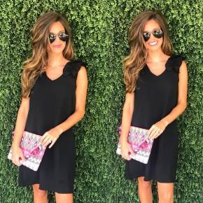 Ready In Ruffles Dress- Black