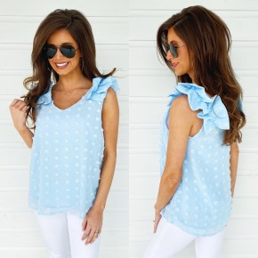 Feel The Vibes Blue Textured Dot Top