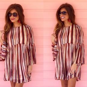 Stay Tuned Burgundy Striped Dress