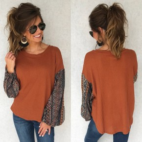 Really About Rust Printed Sleeve Top
