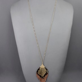 Layered Leather Feather Necklace- Brown