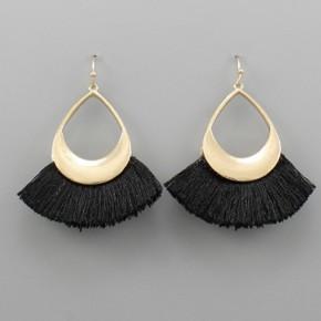 Fringe Teardrop Earrings - Black