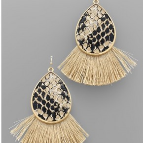Snake Skin Teardrop Tassel Earrings- Beige