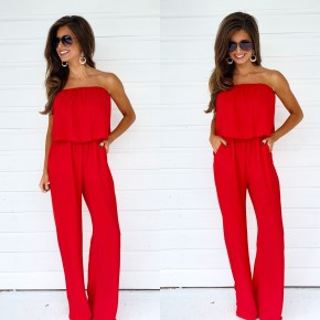 Promised Perfection Jumpsuit- Red