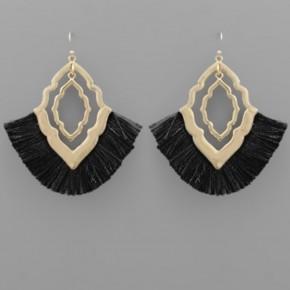 Black Tassel & Quatrefoil Earrings