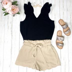 Scallop Hem Shorts- Beige
