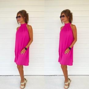 Hayden Halter Neck Dress- Fuchsia