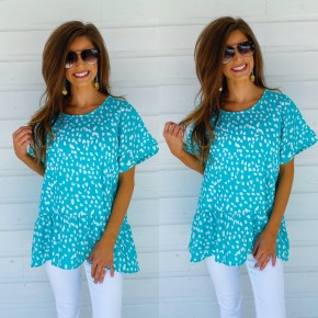 Teal Spotted Top