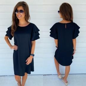 Ruffled Up Dress- Black