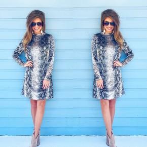 Velvet Snake Print Dress