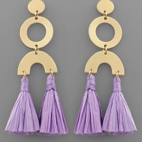 Lavender Raffia Geometric Earrings
