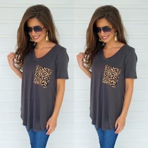Leopard Pocket Top- Grey
