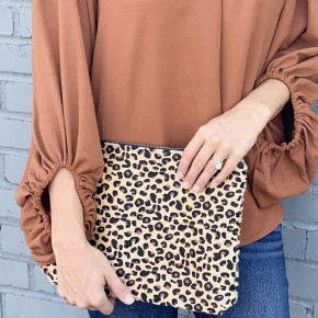 Leopard Zipper Clutch