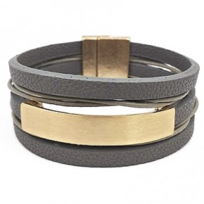 Leather Wrap Bracelet- Gray