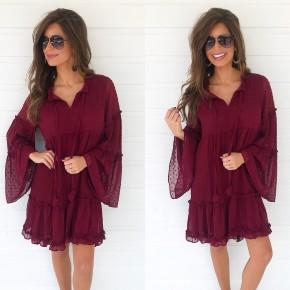 Wine Swiss Dot Dress