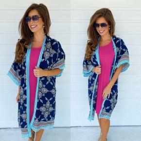 Nealy Navy Printed Kimono