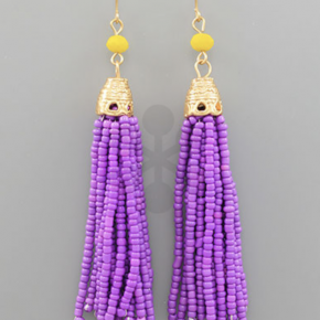 Purple Tassel Drop Earrings