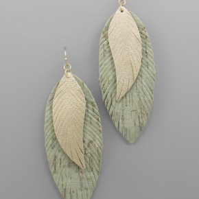 Green Shimmer Feather Earrings