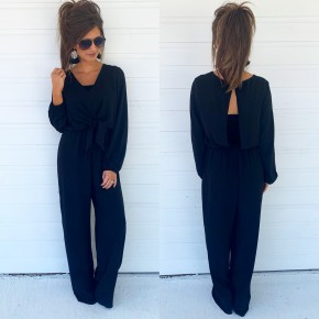 Playing With Fire Black Jumpsuit