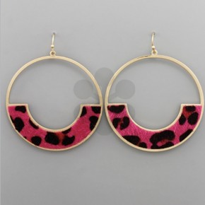 Crazy for Cowhide Open Circle Earrings- Fuchsia