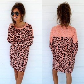 Bright Coral & Leopard Pocket Dress