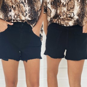Daisy Denim Shorts- Black