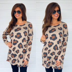 Just Go With It Taupe Leopard Top