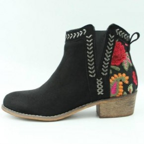 Black Embroidered Booties