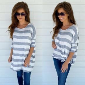 Grey & Ivory Striped Tunic