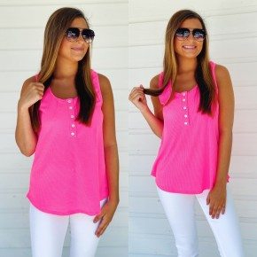 Neon Nights Button Front Tank- Pink