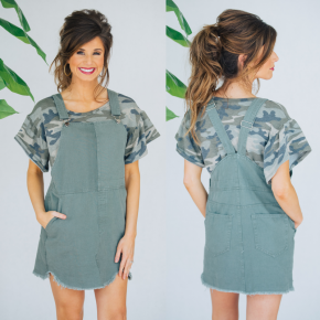 Over The Moon Overall Dress- Olive