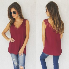 Lace Cami Top- Wine