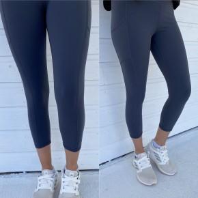 Blue Grey Crop Athletic Leggings