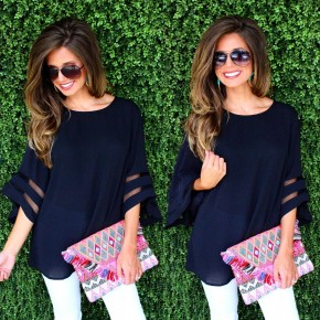 Black Top With Sheer Panels