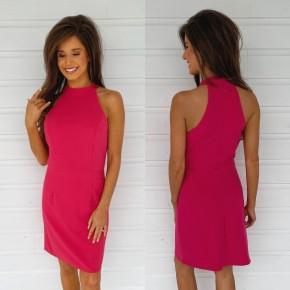 Hottest Halter Neck Dress- Pink