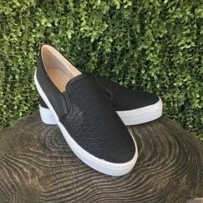 Snake Slip On Sneakers- Black
