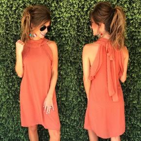 Rust Swiss Dot Dress