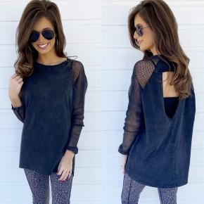 Black Mesh Sleeve Shirt