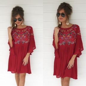 Chili Pepper Embroidered Dress